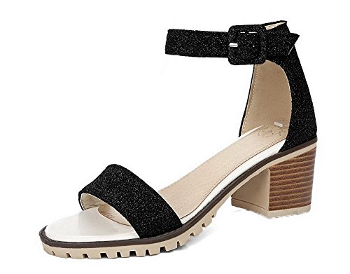 WeiPoot Sandals Solid Women's Black EGHLG004888 Toe Open Kitten Materials Blend Heels UrU1pwq78