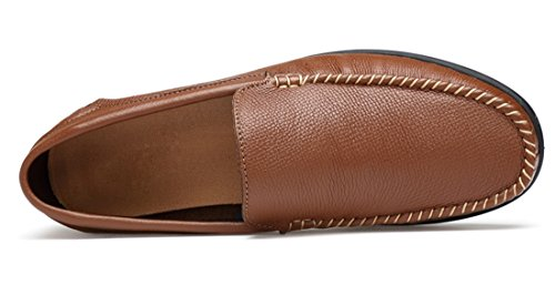 Tda Mens Casual Slip-on In Pelle Traspirante Walking Hiking Penny Mocassini Driving Shoes Marrone