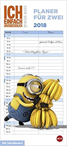 minions planer fur zwei kalender 2018
