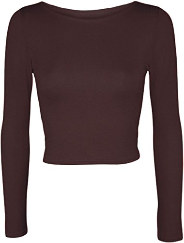 Janisramone mujeres de largo cuello crop top camiseta manga marrón
