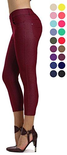 (Prolific Health Women's Jean Look Jeggings Tights Slimming Many Colors Spandex Leggings Pants S-XXXL (Small, Burgundy Capri))