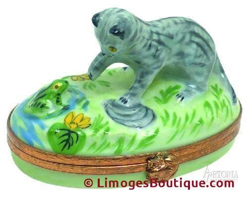 Kitten with Frog - French Limoges Boxes - Porcelain Figurines Collectible Gifts ()
