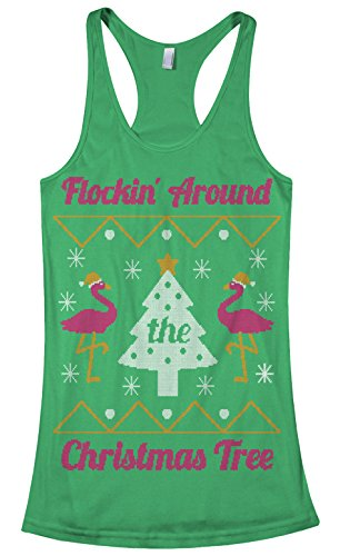 Threadrock Women's Flockin' Around The Christmas Tree Racerback Tank Top S Kelly ()