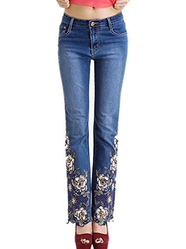 Women's Skinny Vintage Floral Embroidery Boot Cut Denim Jeans Dark Blue