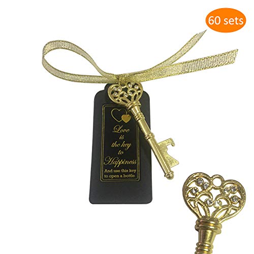 Special Bottle (Golden Key Bottle Opener 60 Packs, Artificial Diamond Embedded, with Escort Tag Card and Sticker, Wedding Party Favors, Thanksgiving, Baby Shower and Special Events Decoration (Golden Vintage Style))