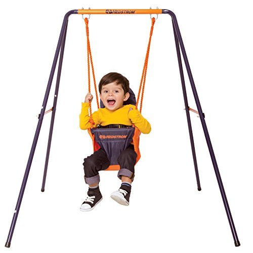 Toddlers Hedstrom Portable Swing Easy Clean Fabric Infant Support Back Seat + Robust Powder Coated Childrens Indoor & Outdoor Play by MV Toys