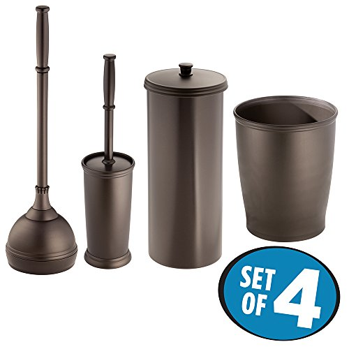 MetroDecor mdesign Bowl Brush, Plunger, Toilet Paper Holder, Round Wastebasket Trash Can, Bronze, Set of 4 (Chrome Toilet Paper Caddy)
