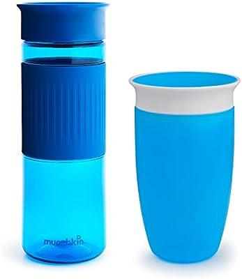 Munchkin Miracle 360° - Set de vasos para padres y niños, de 24oz y 10oz, Azul, Pack de 2 unidades: Amazon.es: Bebé