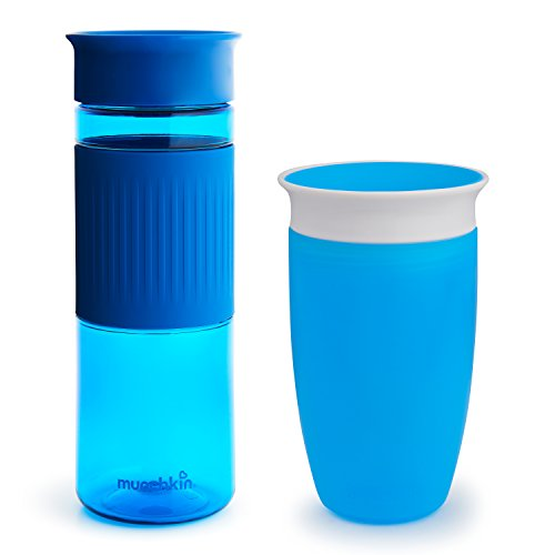 Miracle 360 Cup Parent and Kid Set, 24 and 10 Ounce, Blue, Set of 2