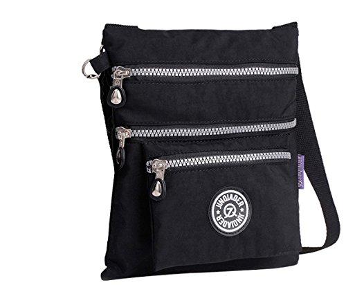 Govc Simple Lightweight Multi-pocket Waterproof Nylon Casual Shoulder Crossbody Bags Zipper Handbags (Black)