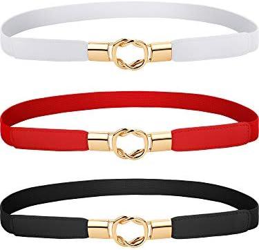 Blulu 3 Pieces Women Skinny Waist Belt Elastic Thin Belt Waist Cinch Belt for Women Girls Accessories (Set 2)