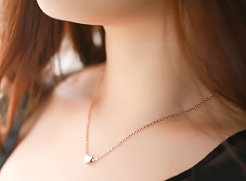 """Womens Charm Mini Heart Pendant Necklace 18"""" Delicate Cable Chain Necklace"""