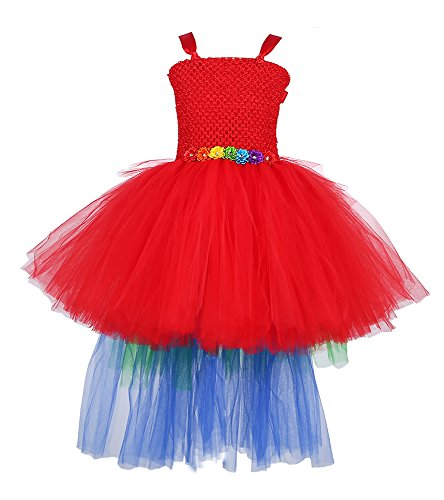 Tutu Dreams Parrot Dress for Teens with Colorful Train (14,Rainbow) -