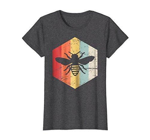 Womens T-shirt Bee (Womens Retro Beekeeper T-Shirt Large Dark Heather)
