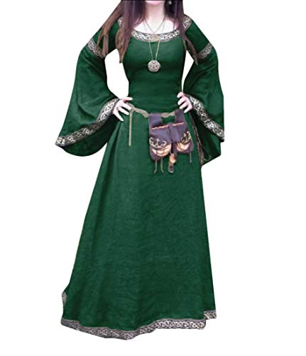 Women Medieval Halloween Costume Plus Size Horn-Sleeve Party Dress Green L ()