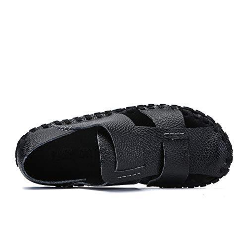 Noir 43 EU KERVINFENDRIYUN YY4 Sandales Baotou Hommes en Cuir Noir Sandales Chaussures de Plage imperméable Fond Souple Chaussures de Sport Sauvages Sandales