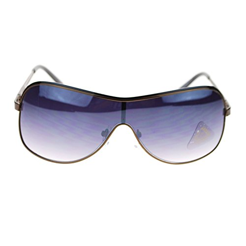 Mens Monolens Shield Oversize Metal Frame Luxury Fashion Aviator Sunglasses - Sunglasses Aviator Shield