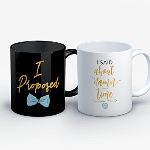 Future Mrs Mug - Gift for Couple - Engagement Gifts - Bride's Mates Gifts - Funny Couples Engagement Announcement - I Proposed / About Time