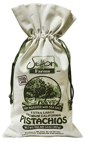 Setton Farms Premium California Pistachios Dry Roasted with Sea Salt Burlap Large Gift Bag, 14 Ounce