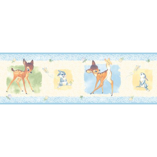 Blue Space Wallpaper Border (Imperial Disney Home DF059332B Bambi Wall Border, Blue, 6.83-Inch Wide)