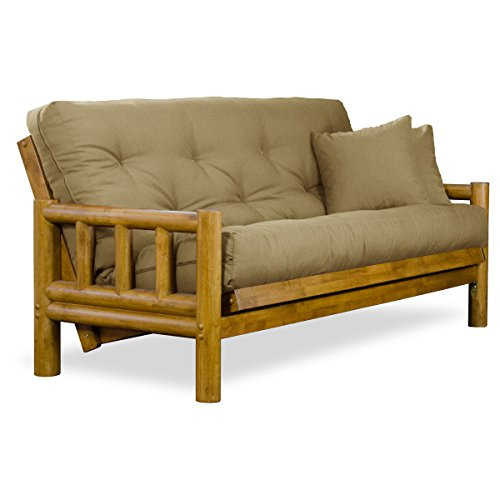 rustic tahoe log futon sofabed set queen frame 8 thick