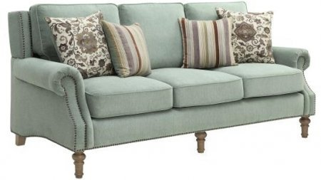 Coaster Rosenberg Collection 505221 86″ Sofa with Rolled Arms Subtle Wing Back and Nail Head Accents in Sage Green Fabric
