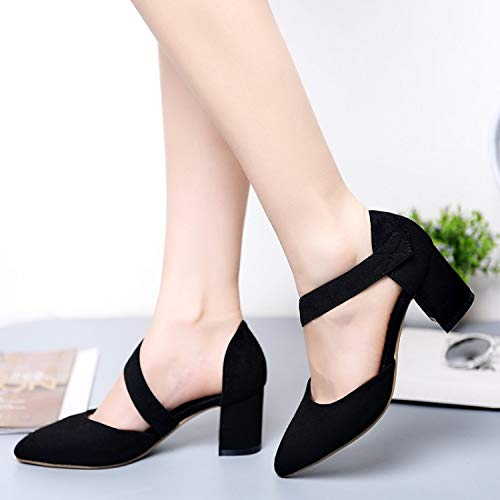 41 Professionnelles Black des Chaussures pour Mince avec épaisses des Nouveau des Femmes GUANG Tempérament Sandales Black Chaussures Milieu était Femmes 35 des Le Femmes Au Femmes Velcro XING xT14nFw1