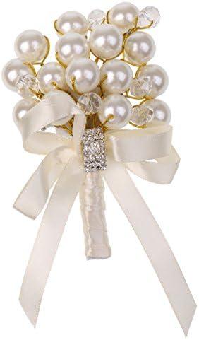 手首のコサージュ-女の子ブライダル花嫁介添人手首のコサージュ手花結婚式ウエディングパーティースーツドレスブローチ(白い真珠と結晶