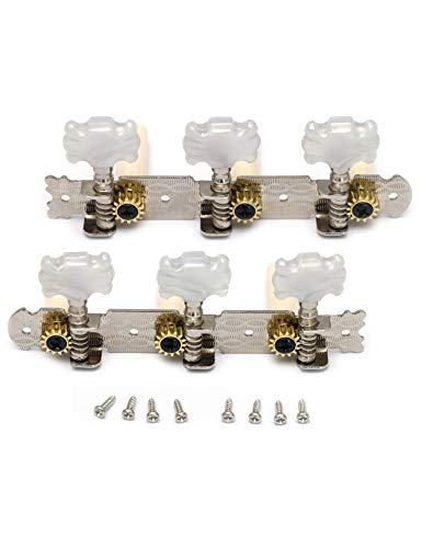 (Metallor Classical Guitar Tuning Pegs Machine Heads Tuning Keys Tuners Single Hole 3L 3R Chrome.)