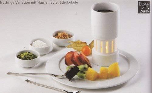 Fondue-Set 2 teilig f/ür Teelicht in wei/ßem Porzellan 1 Set