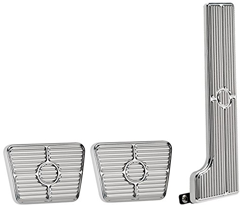 NEW BILLET SPECIALTIES POLISHED 58-67 CHEVY PEDAL KIT FOR MANUAL TRANSMISSIONS INCLUDING GAS PEDAL ASSEMBLY, CLUTCH PAD, AND BRAKE PAD, 63-67 CHEVY II, CHEVELLE, BEL AIR, BISCAYNE, BROOKWOOD, IMPALA