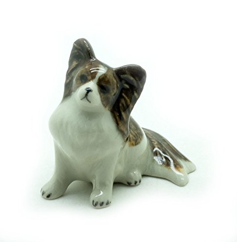 Grandroomchic Dollhouse Animal Miniature Handmade Porcelain Statue Ceramic Decorative 1/24 Scale Papillon Dog Figurine Collectibles Gift