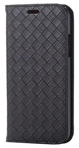 賞賛するずらす寄生虫エレコム iPhone X ケース カバー 手帳型 レザー メッシュ 編み込み風 ブラック PM-A17XPLFMBK