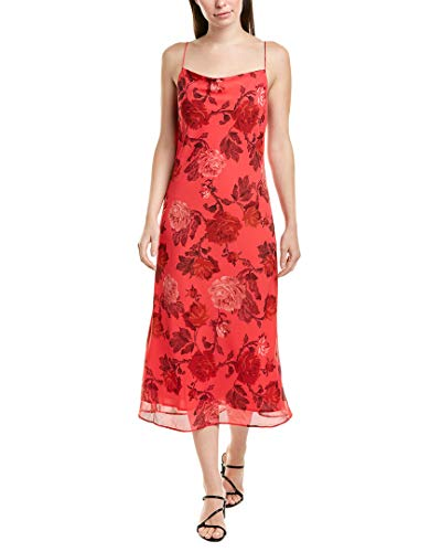 C/MEO COLLECTIVE Women's Variation Sleeveless Cowl Neck MIDI Slip Dress, Hot Pink Rose, M