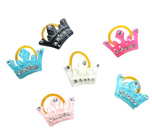 PET SHOW Crown Rhinestone Pet Cat Dog Hair Bows With Rubber Bands Grooming Accessories Assorted Color Pack of 20