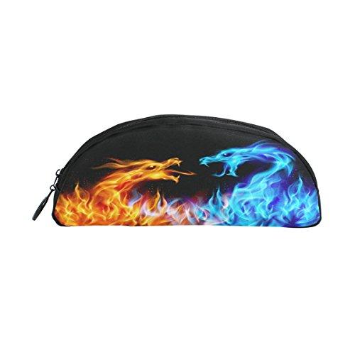ALAZA Red Blue Fire Dragon Pen Pencil Case Bag Purse Pouch W