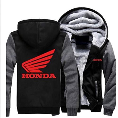JDM Honda Pullover Fleece Hoodie with Matching Hat (XXL, Black/Grey)