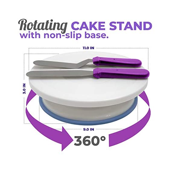 Cake Decorating Supplies Kit, 107 pieces - Cake Stand, Disposable and Reusable Piping Bags, Stainless Steel Piping Tips, Silicone Cupcake Molds, Cake Scrapers, Spatulas and many more baking supplies 2 THE COMPLETE ALL-IN-ONE KIT - The most complete cake decorating set, designed to fulfill all of your baking needs. Perfect for beginners and aspiring CAKE BOSSES!! DECORATING SET INCLUDES: - 48x Small Stainless Steel Piping Tips | 25x Disposable Pastry Piping Bags | 12x Silicone Cupcake Molds (Oven safe, heat resistant up to 450° F) | 5x Large Piping Tips | 3x Cake Side Scrapers | 2x Small Piping Bag Couplers | 2x Icing Spatulas | 2x Flower Nails | 2x Silicone Piping Bags (12in & 16in) | 1x Rotating Cake Stand with a non-slip base | 1x Cake Leveler | 1x Flower Lifter Scissors | 1x Decorating Pen | 1x Large Piping Bag Coupler and 1x Cleaning Bru PREMIUM QUALITY YOU CAN TRUST  - We know safeguarding your family's health is your #1 priority. This is why we strive to use only high quality, non-toxic materials. All 53 piping tips are made of premium non-corroding stainless steel that is dishwasher safe and both our piping bags and cupcake molds are made out of BPA Free and Food Grade Silicone meeting U.S. FDA and European LFGB food safety standards.