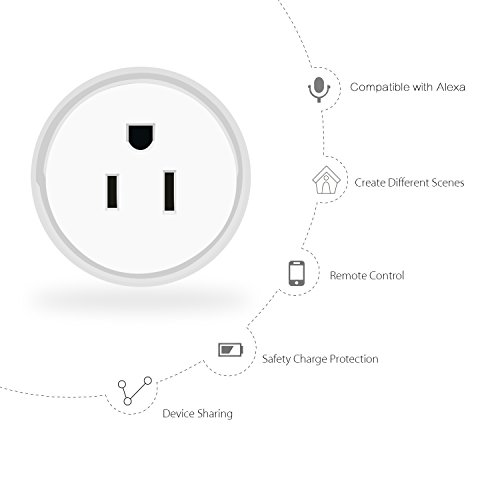 Guxen Mini Wifi Smart Plug Compatible with Alexa,Google Home Mini,No Hub Required, Remote Control by Cellphone App with Timing Function (White 2 Pack) by Guxen (Image #1)