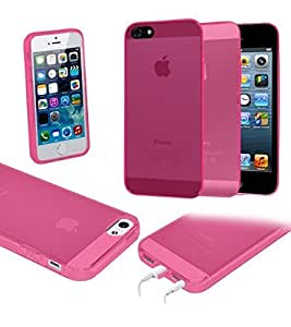 Case For Ipod Touch 5 Cover; BleuReign(TM) Soft Silicone Gel Transparent Hard Phone with Protected Ports Case For Ipod Touch 5 Cover PINK