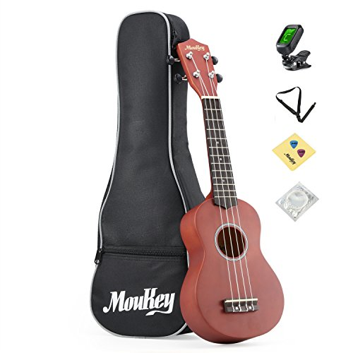 Moukey Soprano Ukulele Starter Kit 21 B-BR with Gig Bag Tuner Picks Strap,Basswood by Moukey