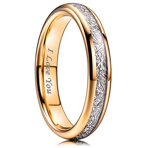 (NaNa Chic Jewelry 4mm Rose Gold Women Tungsten Carbide Ring Inner Hole Laser I Love You Inlay with Meteorite Sticker 10.5)
