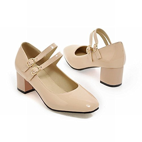 Carolbar Women's Solid Color Lovely Mid Heel Square Toe Buckle Court Shoes Beige K66smYS