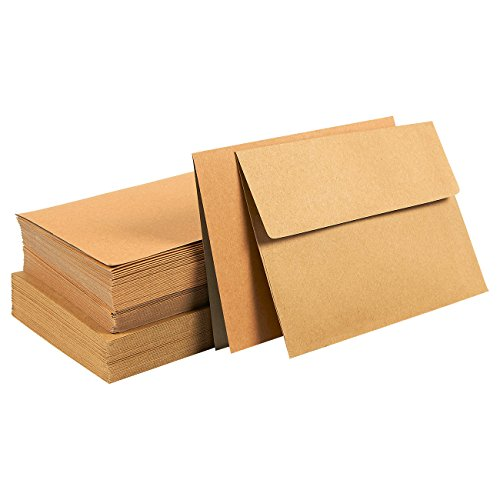 50-Piece Brown Kraft Paper A7 Envelopes and 50-Sheet Half-Fold Greeting Card Paper - 5.25 x 7.25 Inch Square Flap Envelopes - 5 x 7 Inch Greeting Card (50 Plain Envelopes)