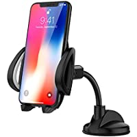 MoKo Cell Phone Car Mount, 360 Degree Rotatable Windshield Dashboard PU Suction Cup Stand Holder for 4 - 7 Smartphone, Fit Apple iPhone X / 8 Plus / 7 / 6s / 5, Samsung Galaxy Note 8 / S8 - Black