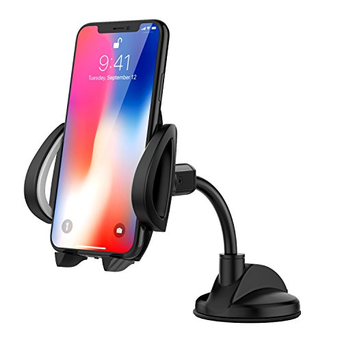 "Price comparison product image MoKo Cell Phone Car Mount, 360 Degree Rotatable Windshield Dashboard PU Suction Cup Stand Holder for 4"" - 7"" Smartphone, Fit Apple iPhone X / 8 Plus / 7 / 6s / 5, Samsung Galaxy Note 8 / S8 - Black"
