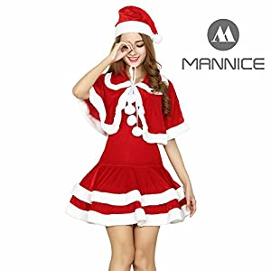 Mannice Women's Santa Costume Adult Christmas Dress Miss Clause Suit,Red