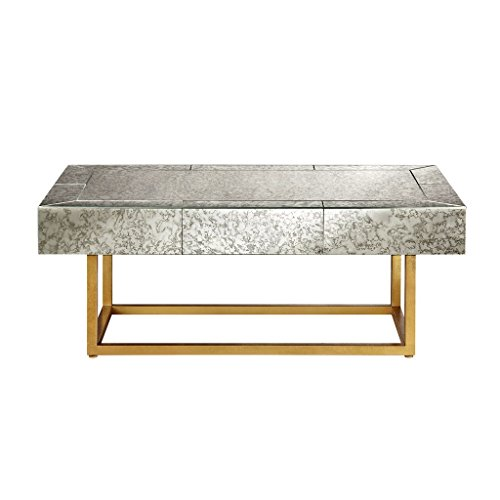 (Modern Glamour Antique Mirror with Antique Gold Metal Base Sofa Table, Coffee Table, End Side Table (Coffee Table))