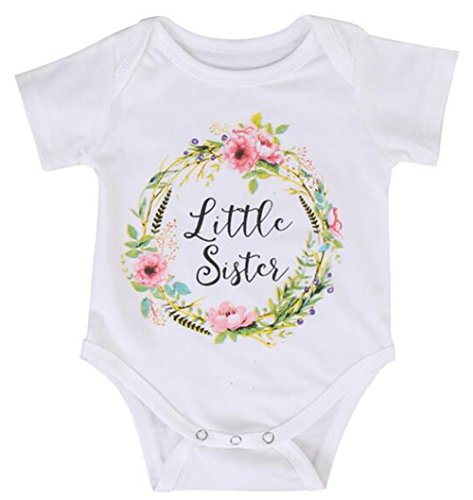Toddler Girls Big Sister T Shirt Matching Little Sister Baby Bodysuits White (3-6M, Little sis)