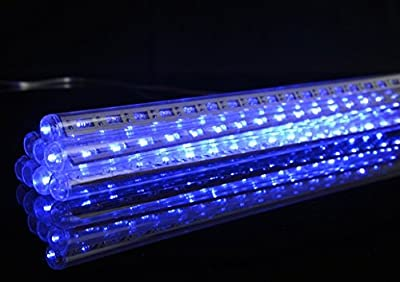 Fantado 136 (8 Tubes) Blue LED Icicle Snowfall Rain Christmas Tube String Lights (12.5FT, Clear Cord) by PaperLanternStore